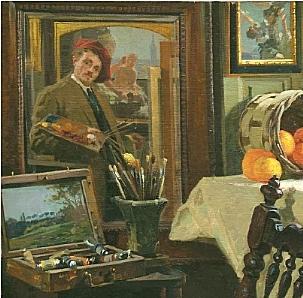 Gianfranco Campestrini: particolare del quadro IL MIO STUDIO