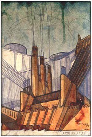Sant elia schizzo prospettico 1914 famiglia artistica for Architetto sant elia