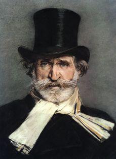 Ritratto di Giuseppe Verdi con cilindro