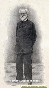 Immagine di Verdi sullo spartito della Prima alla Scala del Falstaff, spartito che l'artista donò alla Famiglia Artistica in segno di riconoscenza